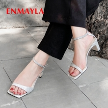ENMAYLA New Sandals 2019 Genuine Leather Basic Office & Career  High Heels Women Solid Buckle Strap Size 34-39 LY2448
