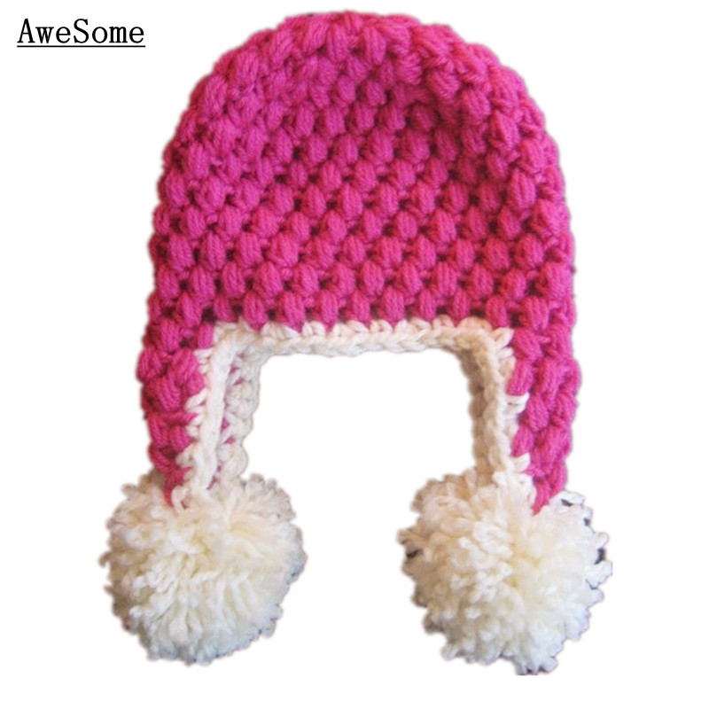 Crochet Patterns Earflap Hat,Handmade Knit Lovely Pink Baby Girl Hat ...