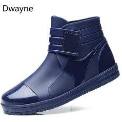 Dwayne 2018 Fashion PVC Waterproof RainBoots Waterproof Flat Shoes Men Black Rainboots Blue Rubber Ankle Boots Buckle Botas