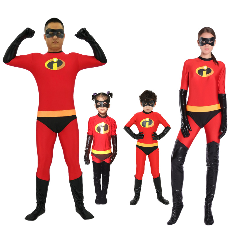 Adult Kids Incredibles 2 Costume Elastigirl Family Cosplay Jumpsuit Adult Superhero Zentai Bodysuit Halloween Carnaval Outfit