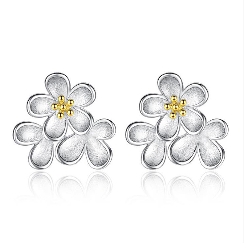 Real 925 Sterling Silver Blooming Cherry Daisy Flower Stud Earrings For Women Brincos Sterling Silver Jewelry CY193