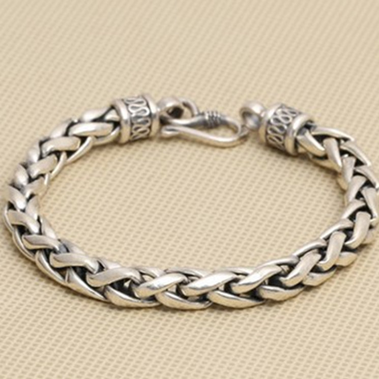 Solid Silver 925 Thick Chain Bracelet Men Simple Design 100% Real 925 Sterling Silver Vintage Cool Mens Jewelry Free Box Gift 8mm solid pure sterling silver 925 mens chain bracelet simple cool style thai silver mens jewelry polished link chain free box