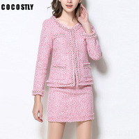 2 Piece Set Women Wool Set Classic Elegant OL Package hip skirt Obviously Sexy Tweed Elegant Office Skirt Suit Set Female suits