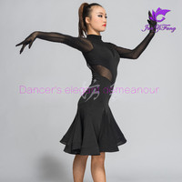 New style latin dance costumes senior sexy SPANDEX gauze sleeves latin dance dress for women latin dance competition dresses