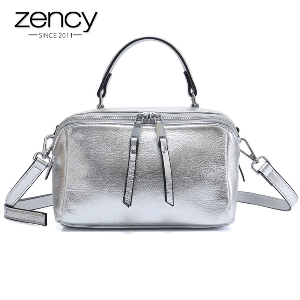 Zency Lady Casual Tote 100% Natural Leather Charm Bright Silver Women Handbag Small Bag Fashion Messenger Crossbody Purse zency 100% genuine leather women shoulder bags fashion casual crossbody messenger bag lady beautiful flap purse black handbag