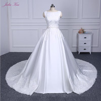 Elegant Cap Sleeves Bridal Dress Beautiful Lace Up A Line Wedding Dress Luxury Pure Satin Princess