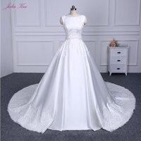 Elegant Cap Sleeves Bridal Dress Beautiful Lace Up A Line Wedding Dress Luxury Pure Satin Princess