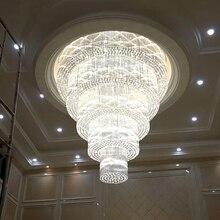 Современные 5 слоев большая Хрустальная люстра потолочных светильников AC110V 220 V Роскошные гостиная лампа отельные люстры