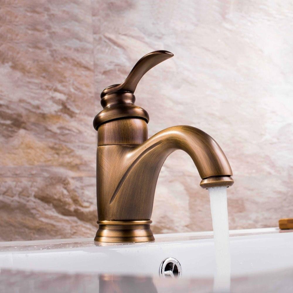 Robinet de mélangeur en laiton Antique de salle de bains de poignée simple de Style européen pour l'évier de vanité