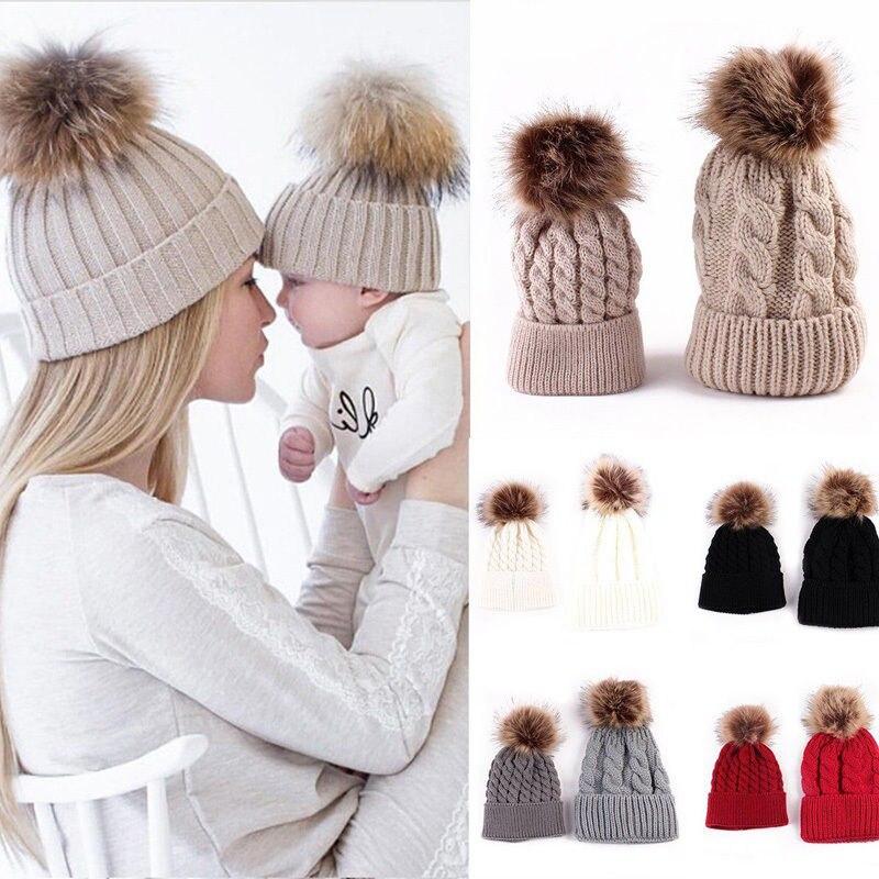 Winter Baby Kids Mother Children Faux Fur Pom Knit Crochet Winter Beanie Cap Bobble Hat