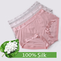 Bikini Panty Silk 100% Women Luxurious Panties Sexy Silk Pure panties for teens girls silk Underwear middle waist