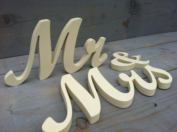 free shipping Wooden Mr & Mrstall letters DIY, painted or glitter sign Mr and Mrs. Wedding table decoration.