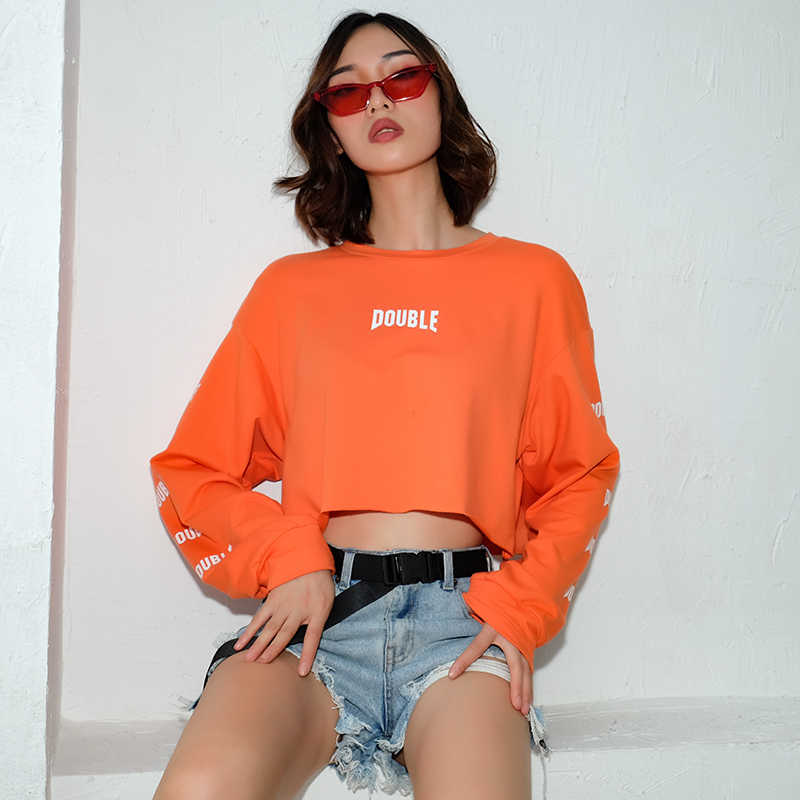 958c7cdfe8b Cropped Long Sleeve Hoodie Women Cropped Orange Letter Print Loose  Sweatshirt Pullovers 2018 Streetwear O-