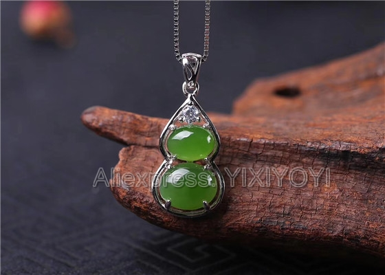 925 Sterling Silver Green HeTian Jade Jasper Beads Inlay Cucurbit Design Lucky Pendant + Chain Necklace Fine Jewelry Charm Gift