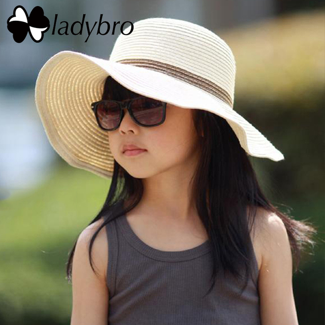 e19501e7d Ladybro Brand Wide Brim Floppy Straw Hat Kids Summer Sun Hat Beach Children  Hat Foldable UV Protect Travel Cap Girls Casual Cap-in Hats & Caps from ...