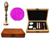 Vintage Cherry Leaf Custom Luxury Wax Seal Sealing Stamp Brass Peacock Metal Handle Sticks Melting Spoon