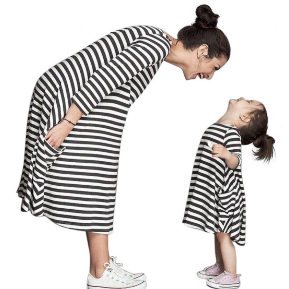 Family Outfits Dress Shirt Parent-Child Girls Baby Kid Striped for And Tops Women