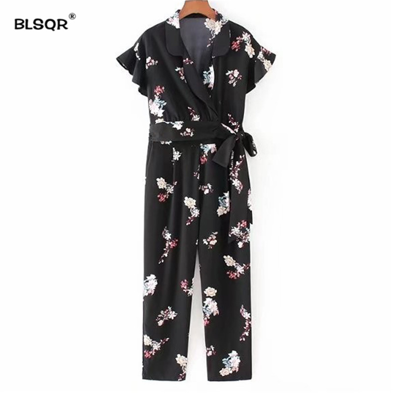 91f2a9c326c BLSQR Casual Floral V Neck Jumpsuits Sashes Bow Tie Ruffled Sleeve Fashion  Vintage Rompers Playsuits Female Casual Pants