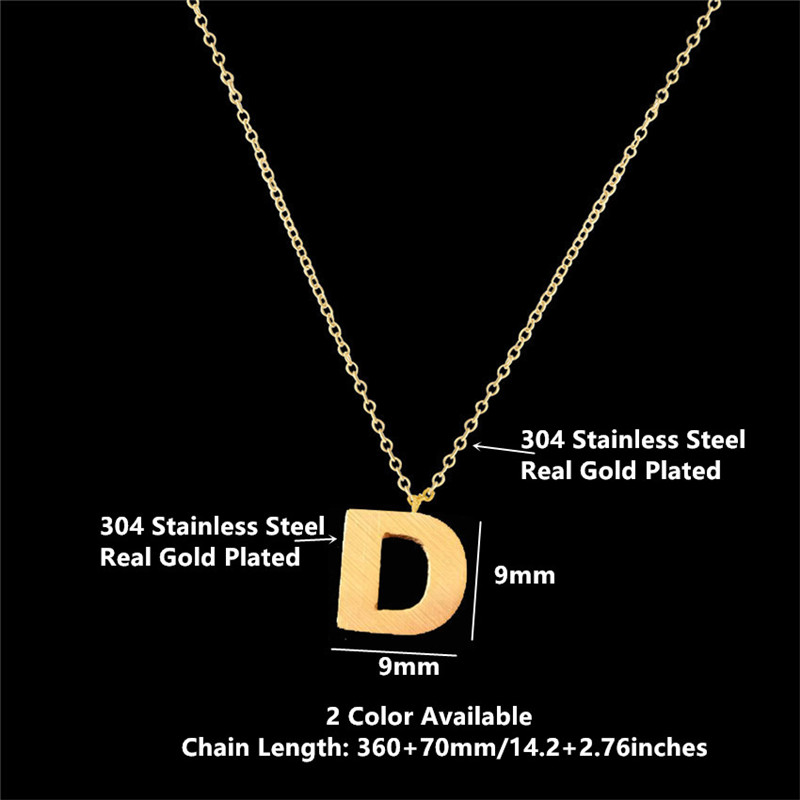 Name Jewelry Alphabet D Letter Pendant Charm Necklace Gold Silver Color Stainless Steel D Design Pendant Necklace For Women Gift In Chain Necklaces From