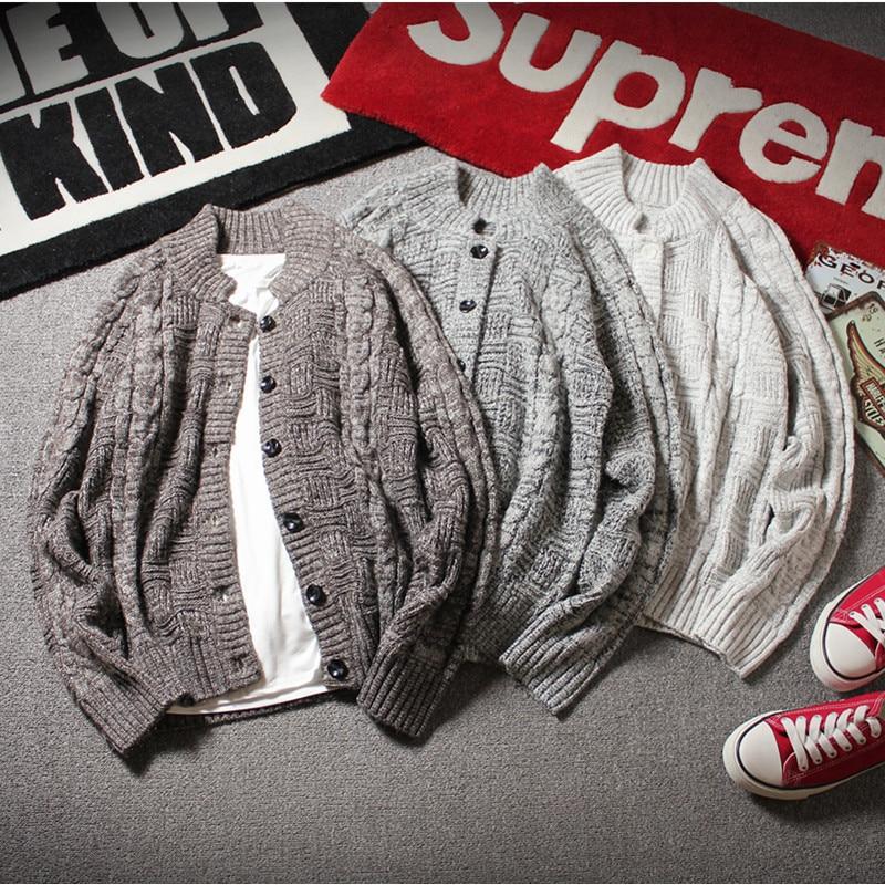 2018 Korean Fashion Man White Cardigan Men Casual Knitting Patterns Mens Sweater Autumn Winter Cashmere Wool Sweater For Men 5XL