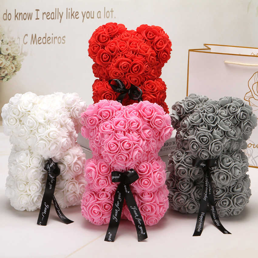 2019 Hot Sale 25cm Bear Of Roses Artificial Flowers Home