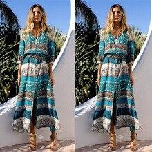 New Ethnic Embroidery Dress Holiday Resort Boho Midi Beach Summer Women Vintage Long