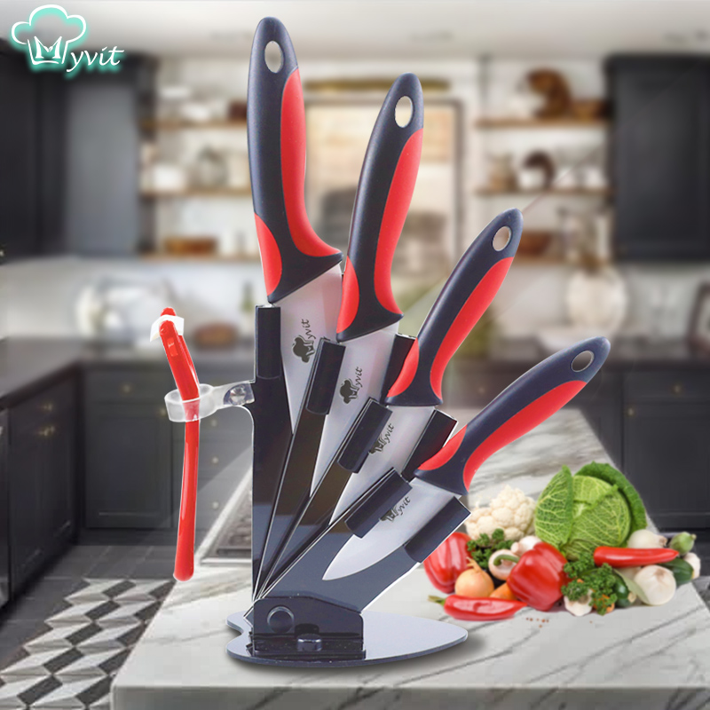 Ceramic Knife Kitchen Knives Holder Chef Slicing Utility Paring Knife White Blade 3 4 5 6 inch + Stand + Peeler Cooking Set