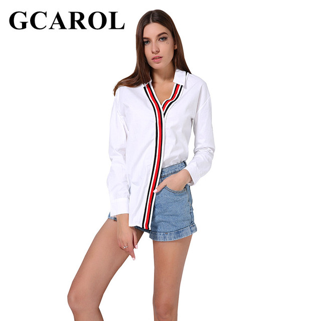 GCAROL 2018 New Arrival V Neck Poplin Women OL Shirt Striped Patchwork Oversize Asymmetric Blouse Neat Elegant White Tops For 4