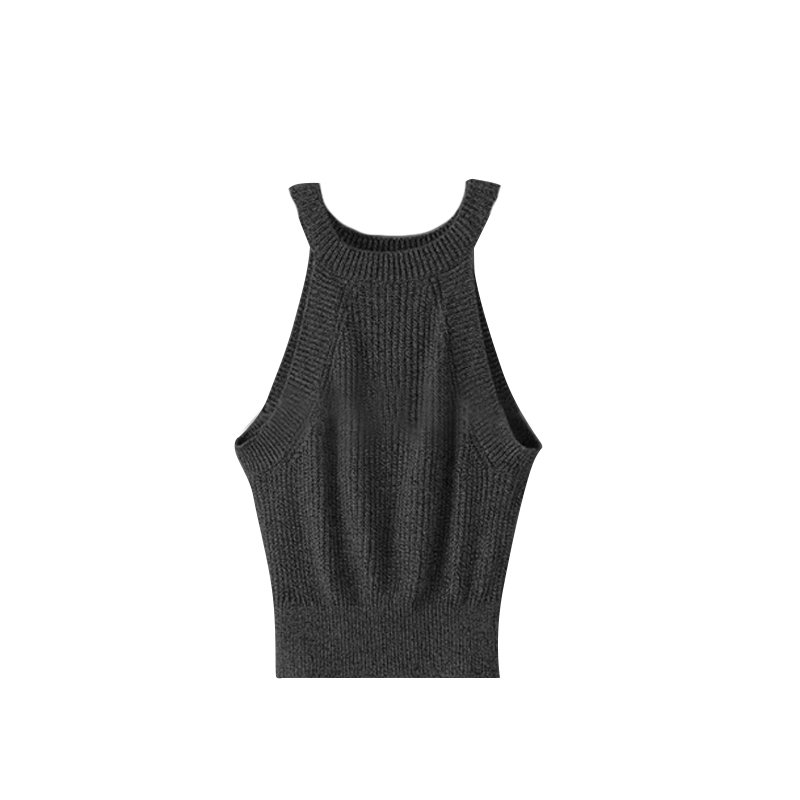 100 Brand New Wholesale Oblique Sleeveless Knit Camisole Halter High-necked Knit Tops Women Knitted Crop Tops Black Hot Sale