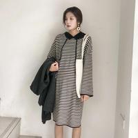 2018 Autumn Winter Korean Version Loose Striped Dress Pregnant Women Sweater Dress Hooded Long Sleeve Maternity Clothing