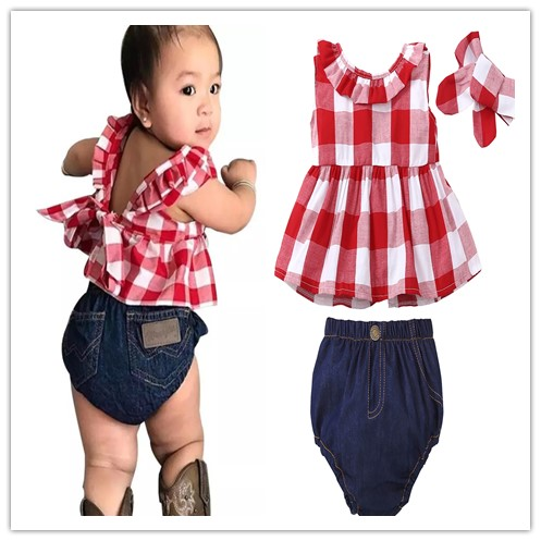 2c0a79ce6 Detail Feedback Questions about 2019 Summer baby girl clothes Red Plaid  Ruffle Bowknot Tank Top+Denim Shorts+Headband Newborn Toddler Baby Girl  Clothing Set ...