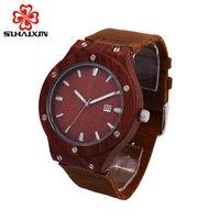SIHAIXIN2018 orologi in legno uomini con retroilluminazione automatica data top brand di lusso da polso al quarzo uomo orologio box cofanetto regalo