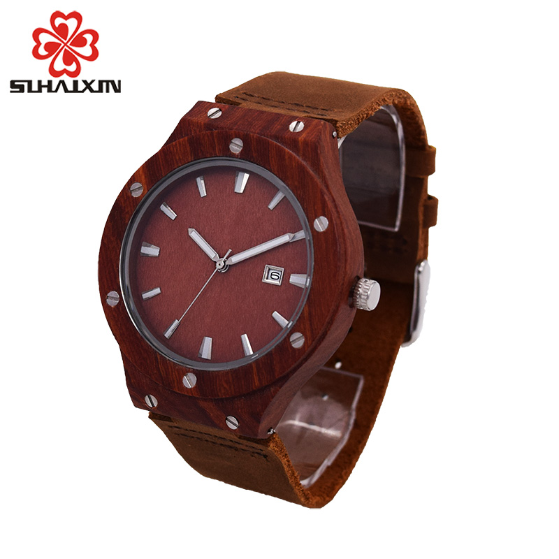 SIHAIXIN2018 wooden watches men with backlight automatic date top luxury brand quartz wrist watch for male clock gift box casket ultra luxury 2 3 5 modes german motor watch winder white color wooden black pu leater inside automatic watch winder