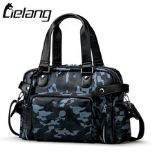 LIELANG New Mens Handbag Camouflage Travel Bag High Quality Designer PU Leather Luggage Bags 14 Inch Laptop Shoulder Bag For Men(China)