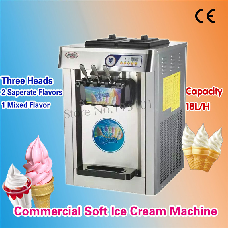 Countertop Soft Serve Ice Cream Machine 3 Heads Orange Color / Stainless Steel 220V Specs For Fast Food Chain Restaurants fast food leisure fast food equipment stainless steel gas fryer 3l spanish churro maker machine