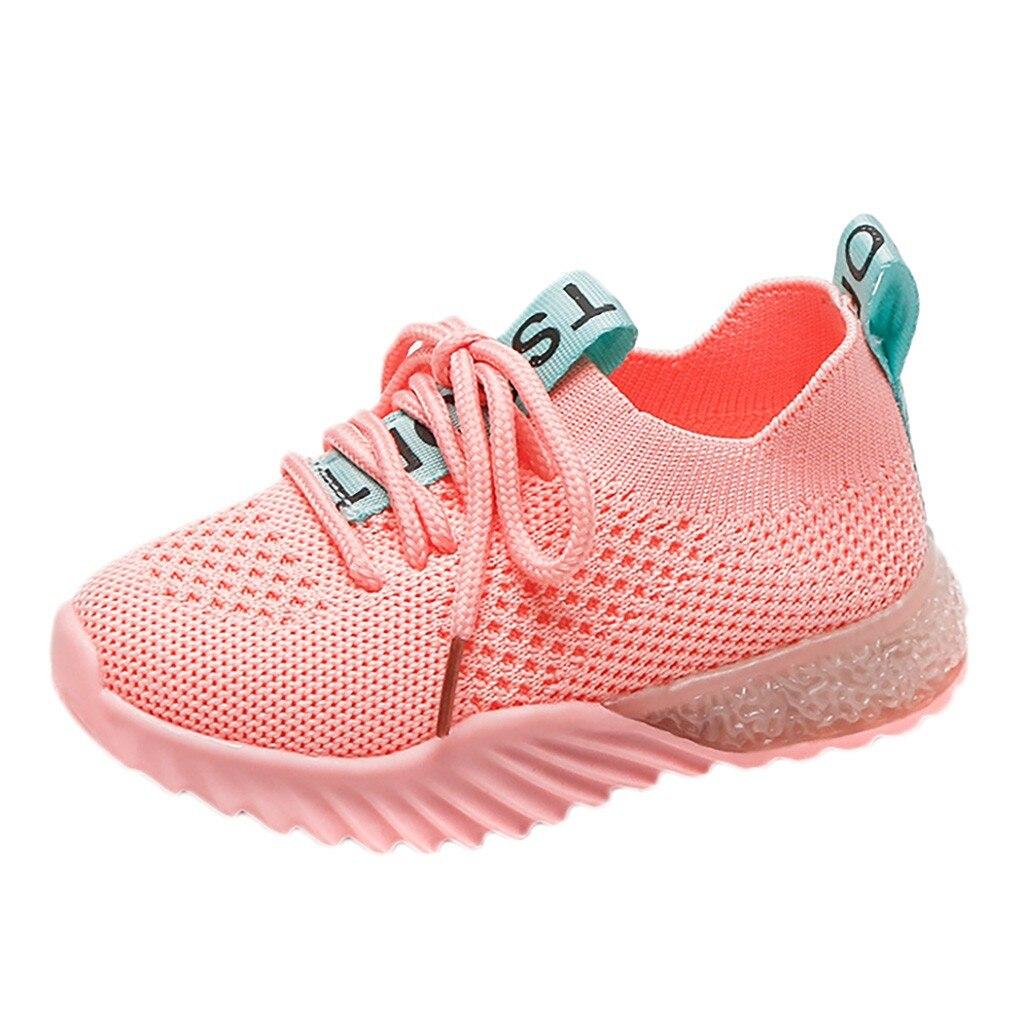 ONTO-MATO Children Kids Baby Girls Boys Letter Mesh Led Luminous Sport Run Sneakers Shoes Chaussure Bebe Fille