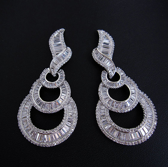 Luxury T crystal AAA cubic zirconia brilliant fashion big drop earrings,middle east style,womens accessaries shining,E3558