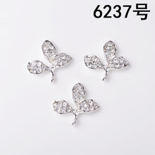 50pcs 23*24mm Silver Color Alloy Material Crystal Leaf Charm Leaf pendant For Head DIY Wedding Handmade Jewelry Making