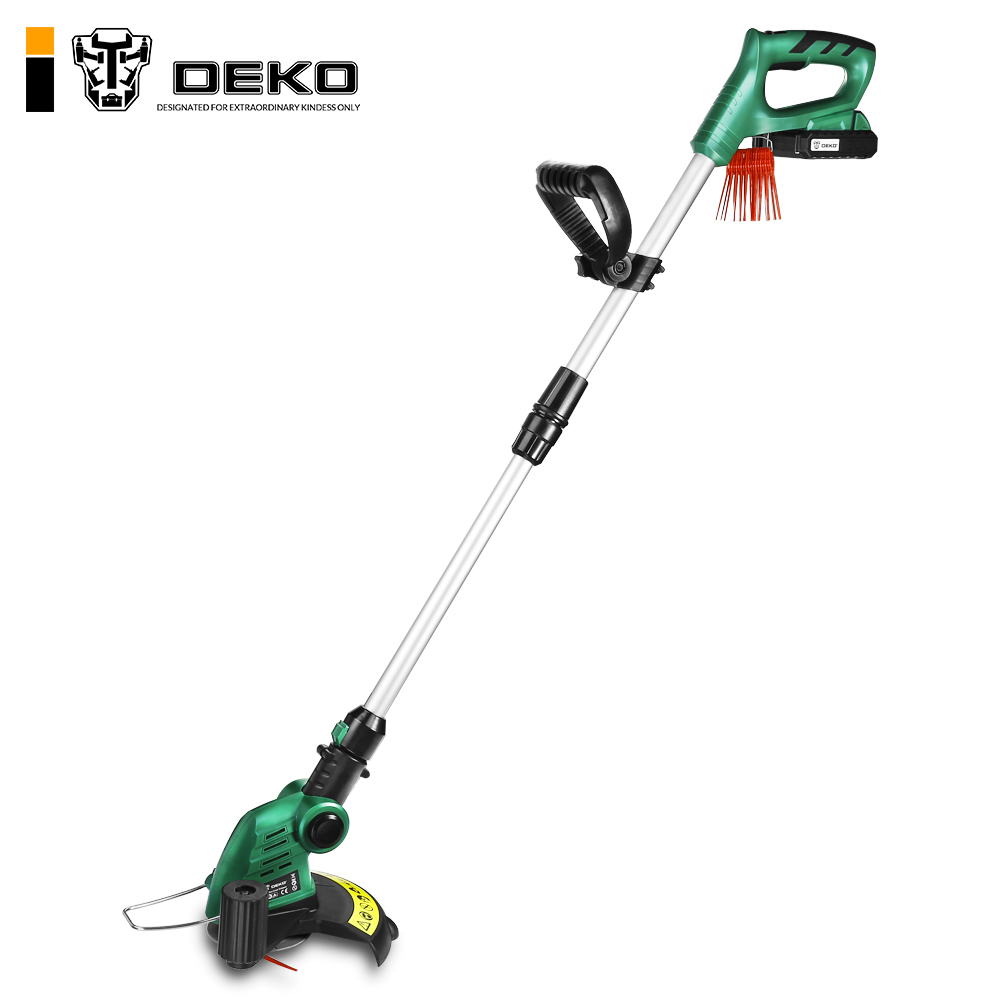 DEKO DKGT06 20V Lithium 2000mAh Cordless Grass Trimmer with Battery Pack and Blade Pendants Adjustable Length