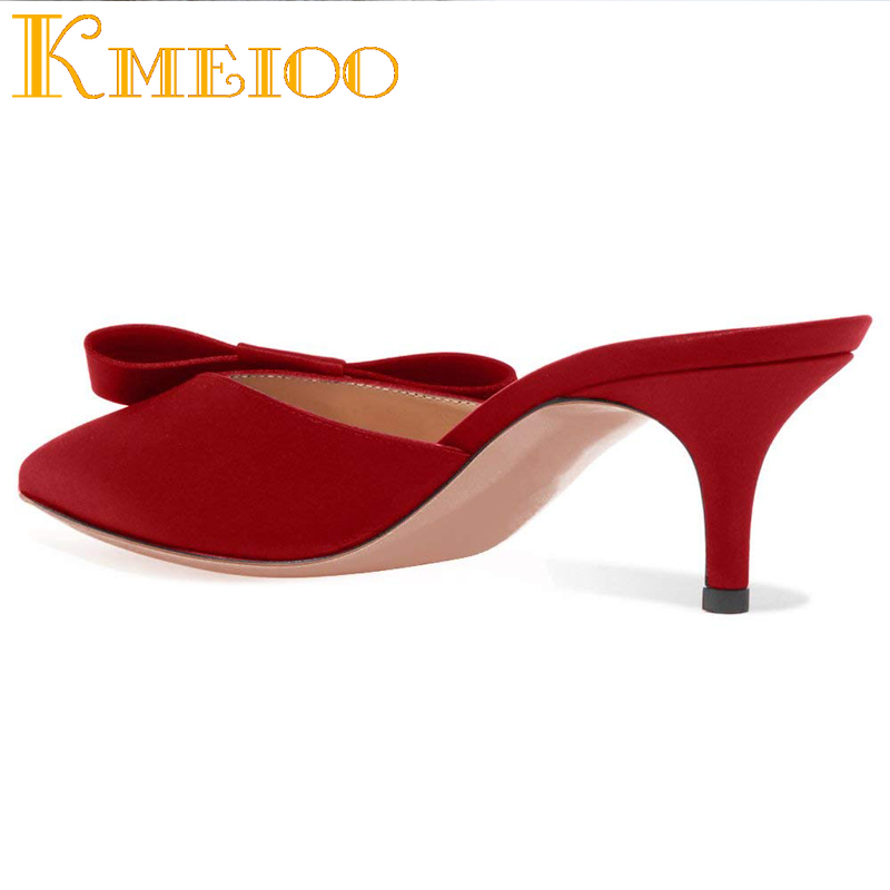 1c235025fd Kmeioo Sweet Mule For Women Bow Tie Mules Slip-on Kitten Heels Pointed Toe  Sandals Satin Dress Causal Shoes 6.5 CM - aliexpress.com - imall.com