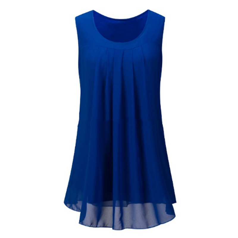 Summer Blouse 2018 Women's Sleevless Sleeve Casual O-Neck Loose Shirt Beach Tops Plus Size Chiffon Blouse