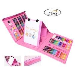 176 piezas de bolígrafos de dibujo conjunto de pintura creativa para niños juegos de Arte de juguete de entretenimiento diario con pinceles de pintura de colores de agua de caballete
