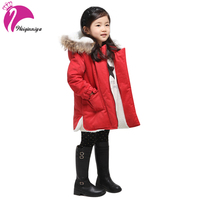 New Brand 2015 Girls Winter Coats Fashion Fur Hooded Warm Girl Solid Red Thick Cashmere Jacket