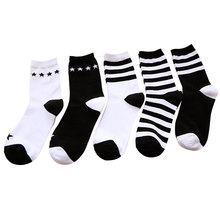 New Women In The Tube Cotton Socks Black White Striped Socks Casual Autumn Winter Classic Wild Ladies Socks 1 pair/lot fashionable striped style men s socks black white pair
