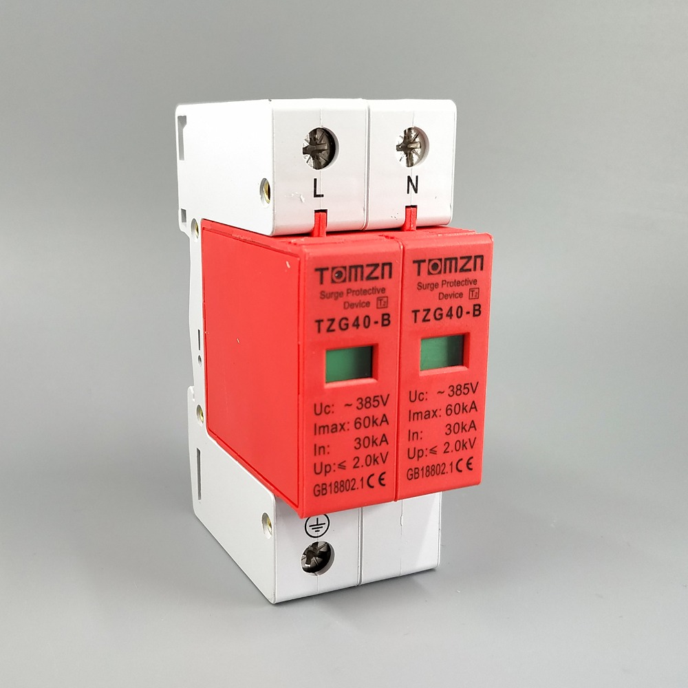 цена SPD 1P+N 30KA~60KA B ~385VAC House Surge Protector Protective Low-voltage Arrester Device