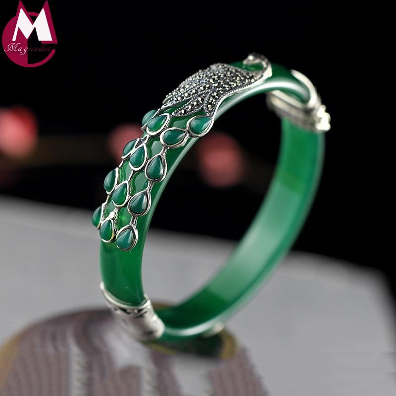 Gemstones Jewelry Ethnic Grandeur Peacock Jade Bangle For Women Bracelet 925 Silver Female Original Design Chalcedony