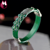Gemstones Jewelry Ethnic Grandeur Peacock Jade Bangle For Women Bracelet 925 Silver Female Original Design Chalcedony Gifts SB54