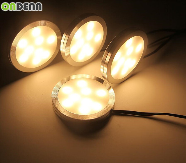 LED Under Cabinet Puck Lights With 2 Way Switch 4 Lamps Kit 12V US/