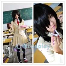 цены WataMote Tomoko Kuroki Cosplay Costume Custom Made set