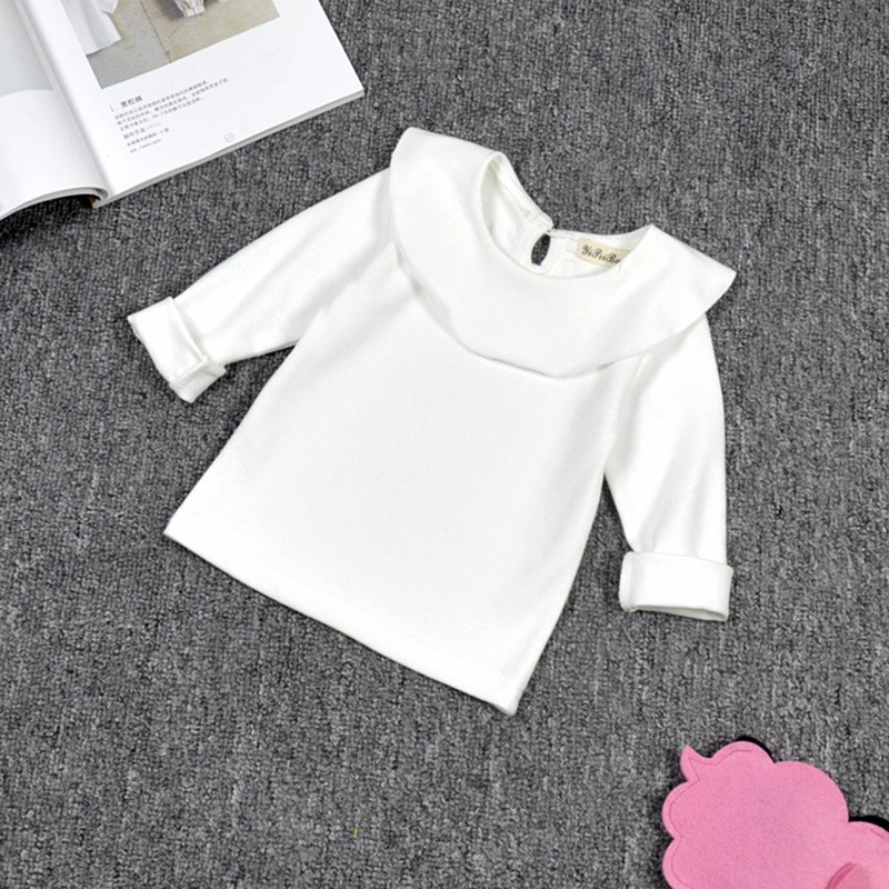 Children T-Shirt Tops Girls Clothes Collar Long-Sleeve Autumn Baby-Girls Kids Cotton